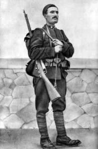 Mussolini in the military. 1917