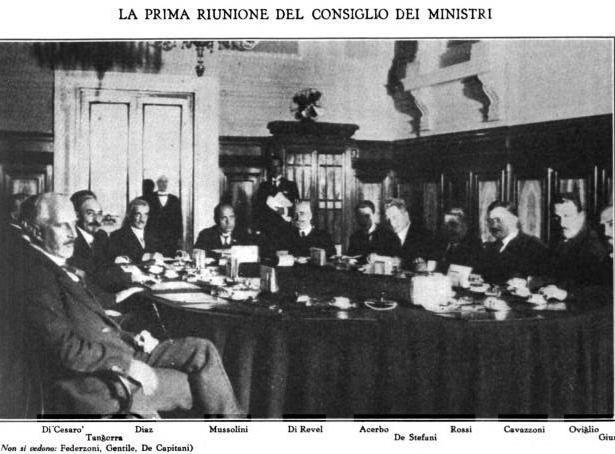 First meeting of the Council of Ministers of the Government Mussolini