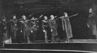 """Julius Caesar"" adaptation by Orson Welles, Mercury Theater. The fascists appeal to ancient Roman myth was obvious."