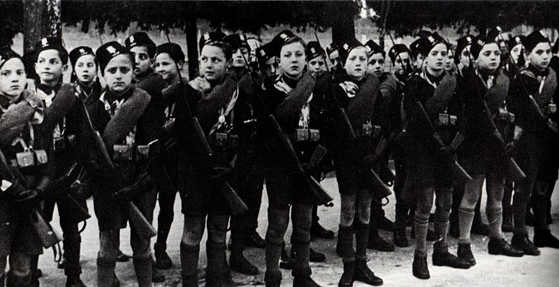 Balilla members holding Balilla muskets, a rifle used by children in fascist Italy