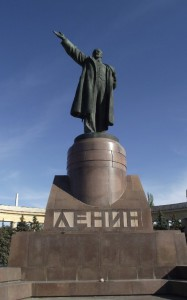 Lenin is far from forgotten in Russia, and the Federation's armed forces still proudly display communist flags with Lenin's face as an emblem. In Western Ukraine and Kiev, however, statues in his honor and communist symbols have been defaced and destroyed.
