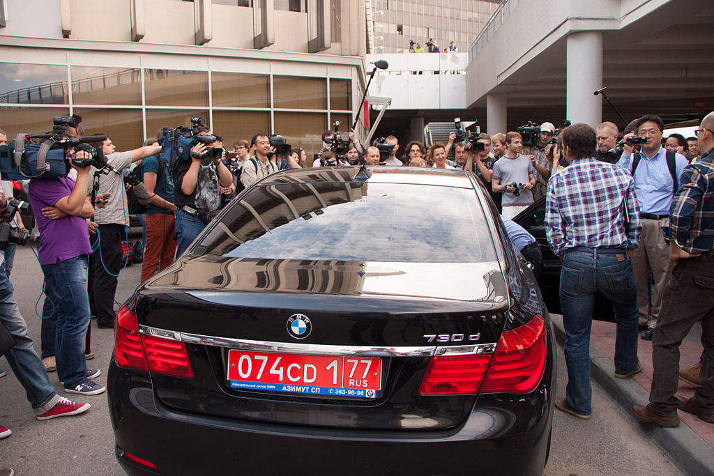 Ecuador embassy car in front of Sheremetyevo Airport in Moscow on June 23, 2013 around the arrival of Edward Snowden.