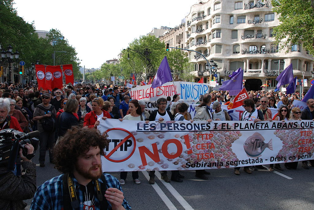 TTIP protest in Barcelona, Spain.