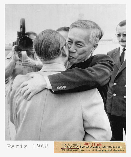 Le Duc Tho, chief adviser to the Vietnamese Paris peace delegation, embracing his comrade Xuan Thuy. head of the North Vietnam negotiators.