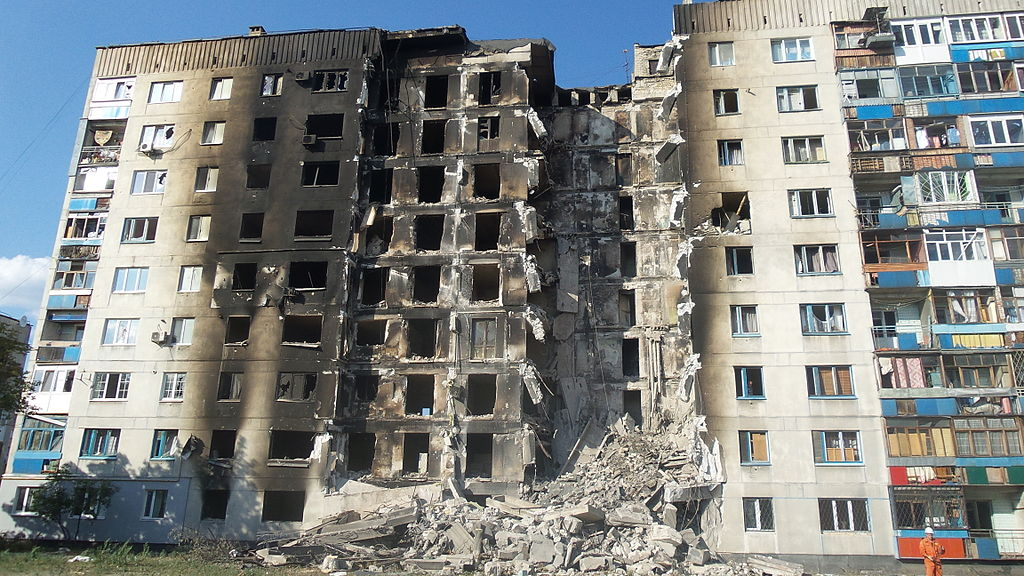 House in Lisichansk, Lugansk People's Republic, destroyed by Kiev junta. 2014.