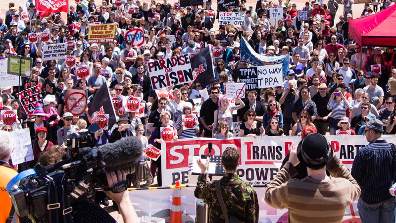 TPP protest in Wellington, New Zealand. November 2014.