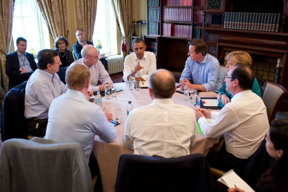 G8 Summit meeting on Transatlantic Trade and Investment Partnership in the Library at Lough Erne Resort in Enniskillen, Northern Ireland on 17 June 2013. President Barack Obama of the United States faces the camera in the centre, with (clockwise): Prime Minister David Cameron of the United Kingdom; Chancellor Angela Merkel of Germany; President François Hollande of France; Prime Minister Enrico Letta of Italy; Taoiseach Enda Kenny of Ireland, which holds the Presidency of the Council of the European Union; José Manuel Barroso, President of the European Commission; and Herman Van Rompuy, President of the European Council.