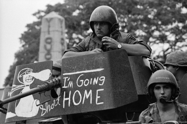 1975—At last! Good riddance. The Americans are leaving. Many of the US troops were (as usual) completely ignorant or brainwashed by the system's propaganda. A significant number came to realize—too late—the actual meaning of their participation in a horrible imperialist war. The memories of the barbarities committed haunted many of them for decades, destroying their ability to lead normal lives. Others remain unrepentant.
