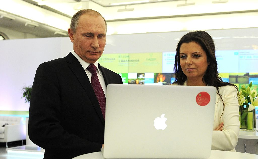 Vladimir Putin visited a multimedia presentation celebrating RT's 10th anniversary. With RT Editor-in-Chief since the channel was launched, Margarita Simonyan. December 10, 2015