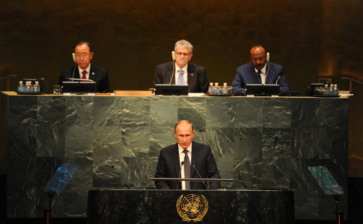"""Vladimir Putin during his 2015 UN General Assembly speech, in which Russia once again challenged American instruments of """"involvement"""" and weakening of allies and enemies."""