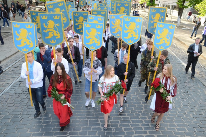 Ukrainian youth struggles to remember history: march in honor of 1st Galician SS Division. Lvov. April 27, 2014