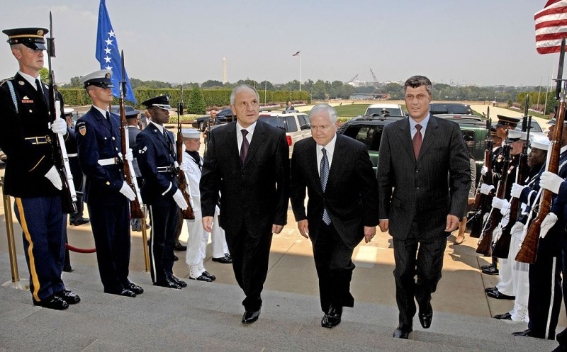Carla Del Ponte, the prosecutor for the International Criminal Tribunal for the former Yugoslavia, accused the Kosovo Prime Minister, Hashim Thaci, among other people, of kidnapping hundreds of Serbs in 1999 and extracting their organs for sale. Three months after her book was published, U.S. Secretary of Defense Robert M. Gates (center) escorted Kosovar President Fatmir Sejdiu (left) and Kosovar Prime Minister Hashim Thaci through an honor cordon and into the Pentagon, on July 18, 2008. The allegations made by Del Ponte against Thaci were confirmed in 2010 by the Council of Europe. He was also accused of drug and weapon smuggling.