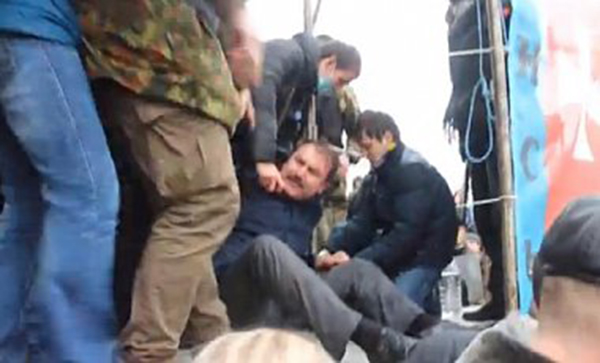 "Cold water was poured on the governor of Volhynia region, after which he was handcuffed to the stage of the local ""maidan"". The ""maidan"" militants demanded him to resign."