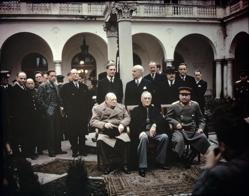 Churchill, Roosevelt and Stalin during the Yalta conference, where the implementation of the ideas of creating the United Nations was started