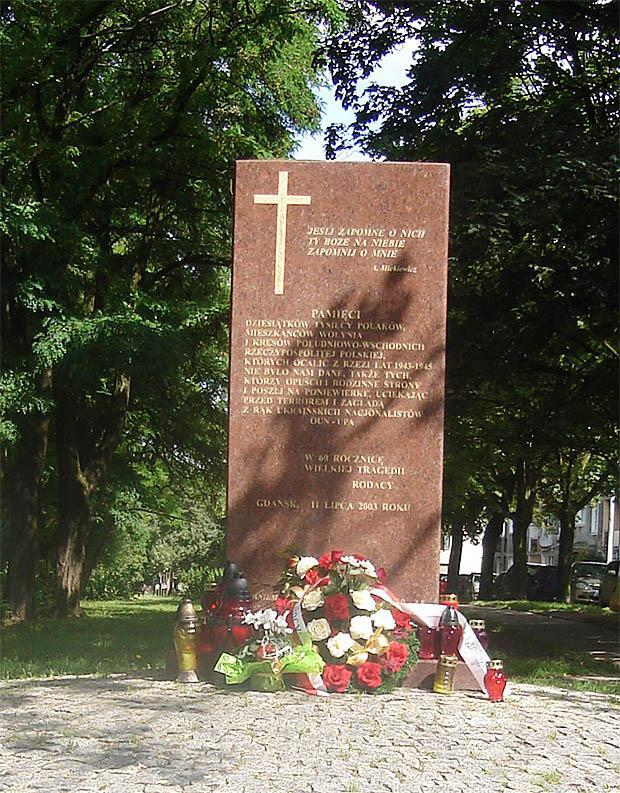 "Gdansk, Poland. The memorial to Poles murdered by OUN-UPA Bandera Nazis in Volynha and East Poland in 1943-1945. The top inscription reads: ""If I will forget them, forget me, oh God in Heaven""."