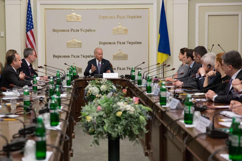 Vice President of the U.S. Joe Biden sitting in the Ukrainian Parliament in the chair where the Ukrainian President is supposed to sit. April 22, 2014