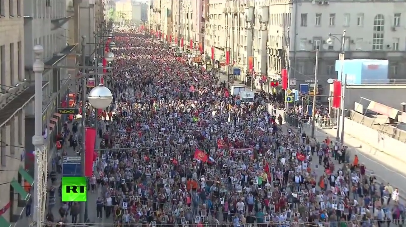 "Half a million people in Moscow alone marched through the streets of their city on May 9 carrying the portraits of their fathers, grandfathers and great-grandfathers who gave their live to defeat fascism 70 years ago. This event was called the ""Immortal regiment"" - those who gave their lives for the greater future are never gone forever."
