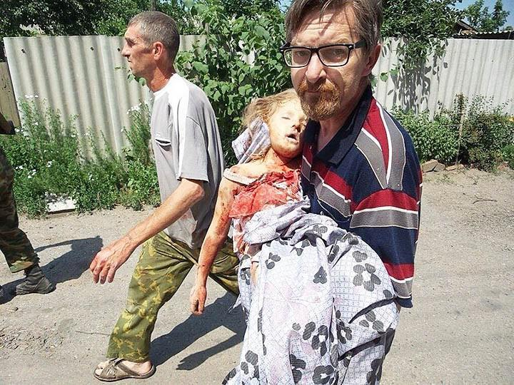 This 6-year old girl was murdered by a Ukrainian howitzer shell in Slavyansk on June 8, 2014, at 13:15.
