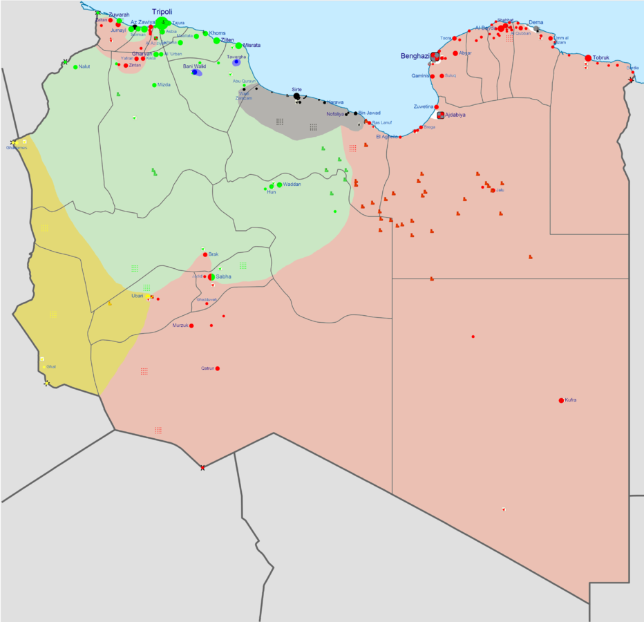 Current military situation in Libya: Dark grey is under the control of ISIL and Ansar al-Sharia. Other colors represent the sides of the civil war in Libya which started after the bombing of Libya by the West in 2011.