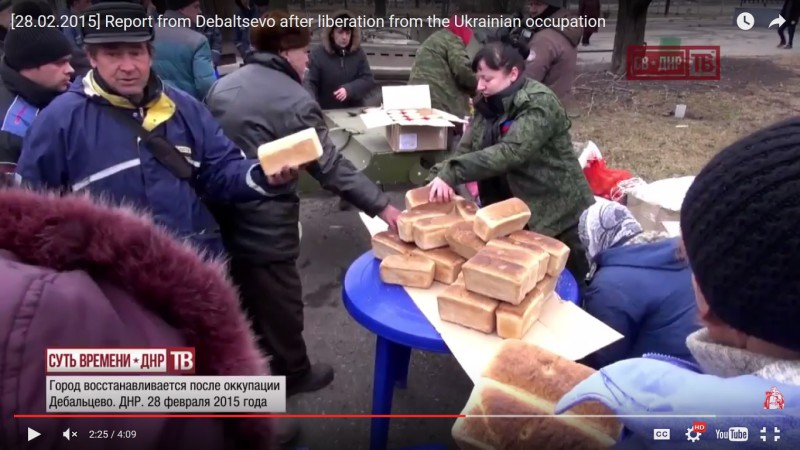 Debaltsevo residents receive food after liberation from Bandera Nazis. February 28, 2015