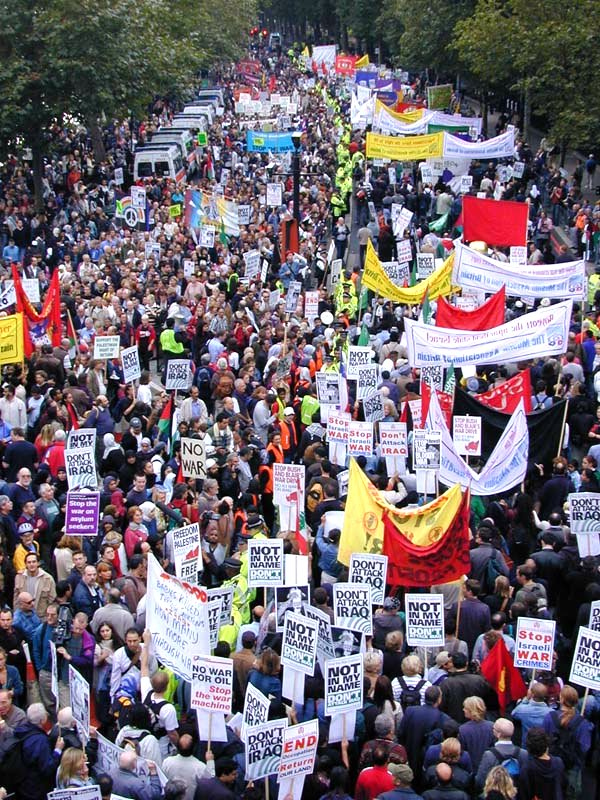 September 2002 London protests against possible invasion in Iraq. Protests didn't help. It is doubtful, though, that such protests will occur now in case the West will invade Syria. Considering the number of nations involved in the war in the Middle East, this time it will be nothing less than World War III.
