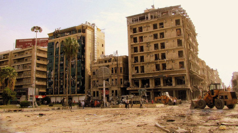 3 Car bombs hit the central Saadallah al-Jabiri square in Aleppo, photo by Zyzzzzzy, licensed under CC BY-SA 2.0