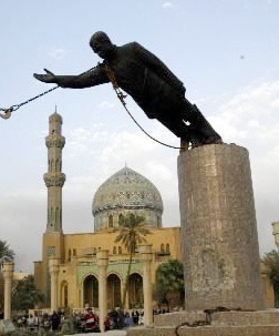 Statue of Saddam Hussein being toppled in Firdos Square, Baghdad, after the US invasion of Iraq. This U.S. invasion made ISIL possible in the first place, after U.S. destroyed the main capable anti-Islamist force in Iraq, the then-ruling Socialist Ba'ath party. Now they want to destroy Bashar Asad and his Socialist Ba'ath party - again, the main force in Syria resisting invasion of ISIL.