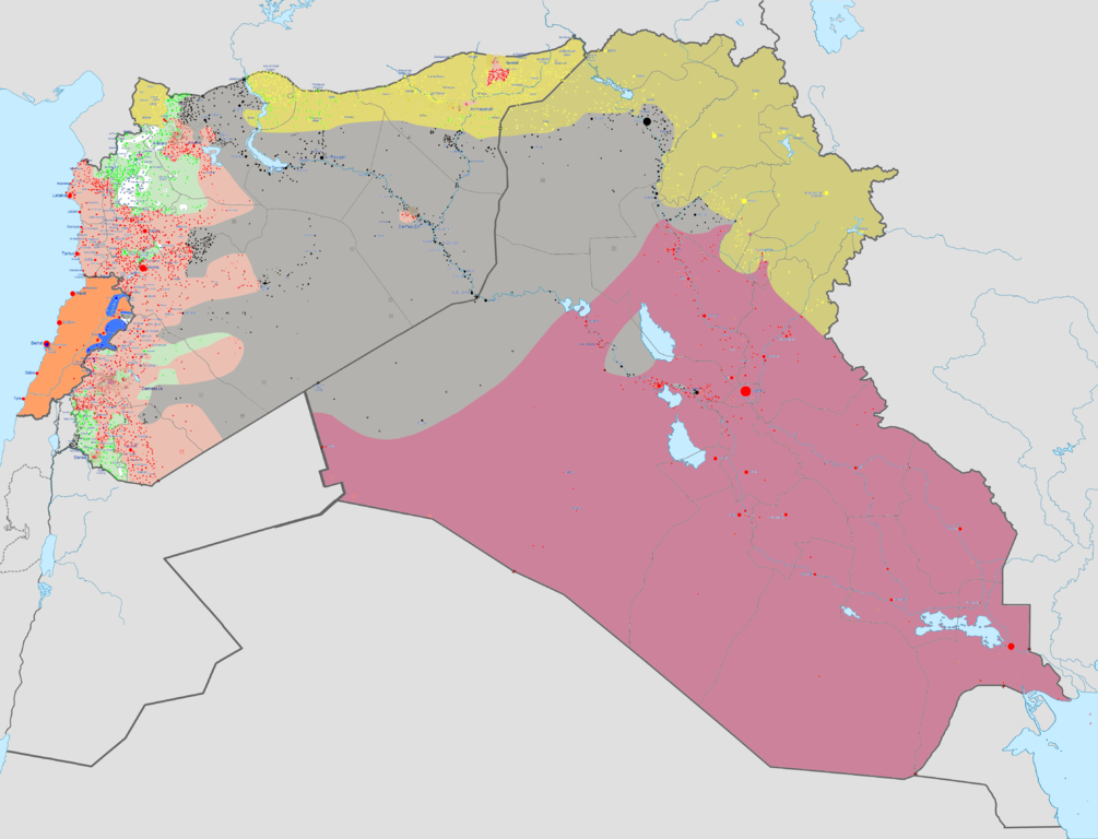 Map of the war against ISIL as of February 3, 2016. Dark purple marks territories controlled by Iraq; pink - territories controlled by the Syrian government; dark grey - territories controlled by ISIL. White - controlled by al-Nusra; green - by other anti-government armed groups
