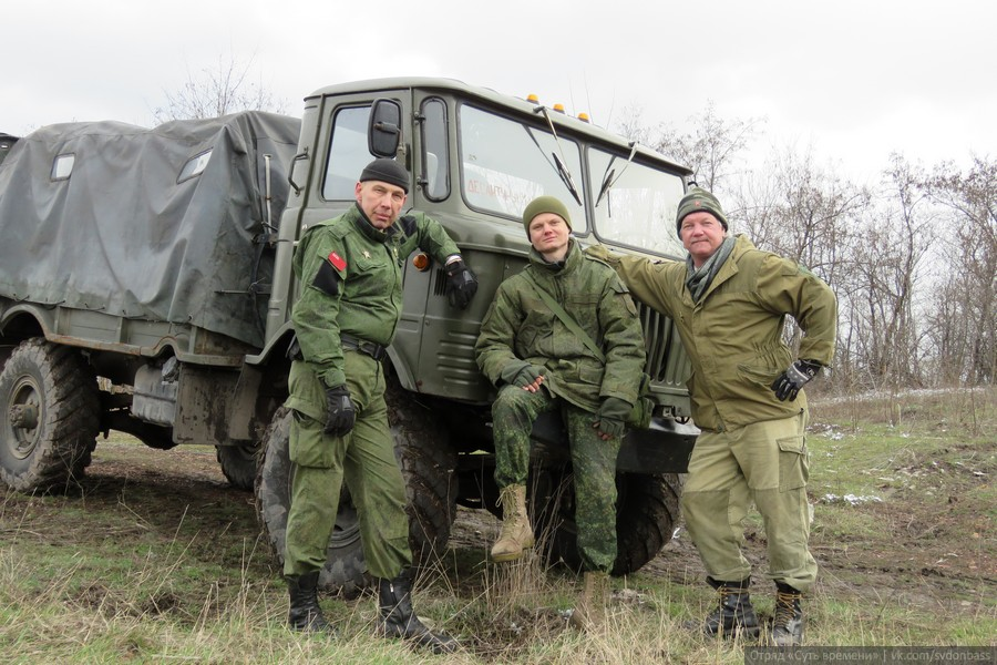 """Essence of Time"" unit in Donbass fighters ""Lom"", ""Gazetchik"" and ""Texas"" with the newly repaired trophy GAZ-66. March 2016"