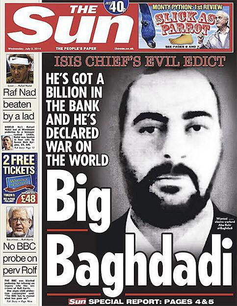 Al-Baghdadi on the cover of the Sun.