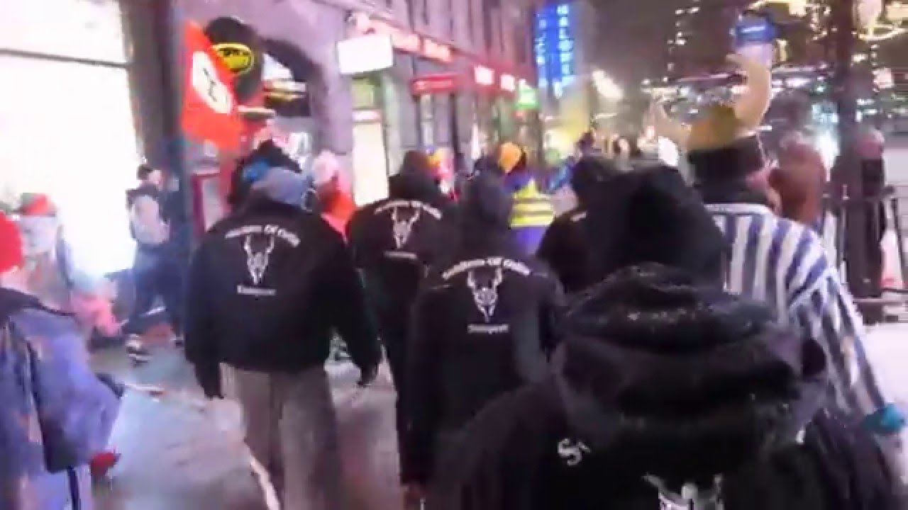 Soldiers of Odin in their black jackets
