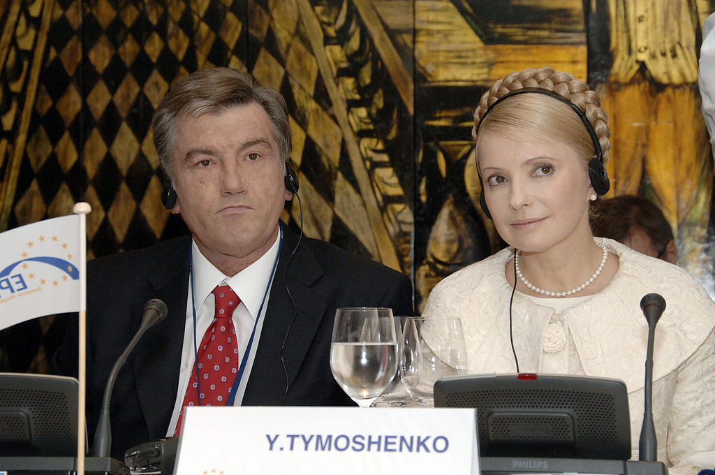 "Yushchenko and Tymoshenko representing their party (""Our Ukraine"" and ""Motherland"") at the Summit of European People's Party, Portugal (Lisbon), 18.10.2007. Photo by European People's Party, CC 2.0"