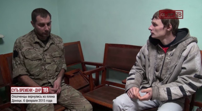 EoT DPR TV. Militiamen return from Ukrainian captivity. February 6, 2015. Report filmed by Altay.