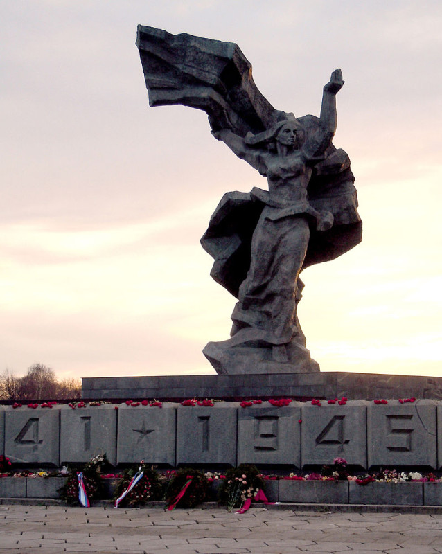 """Motherland"", part of the monument to Liberators of Riga from Nazi invaders. November 2013"