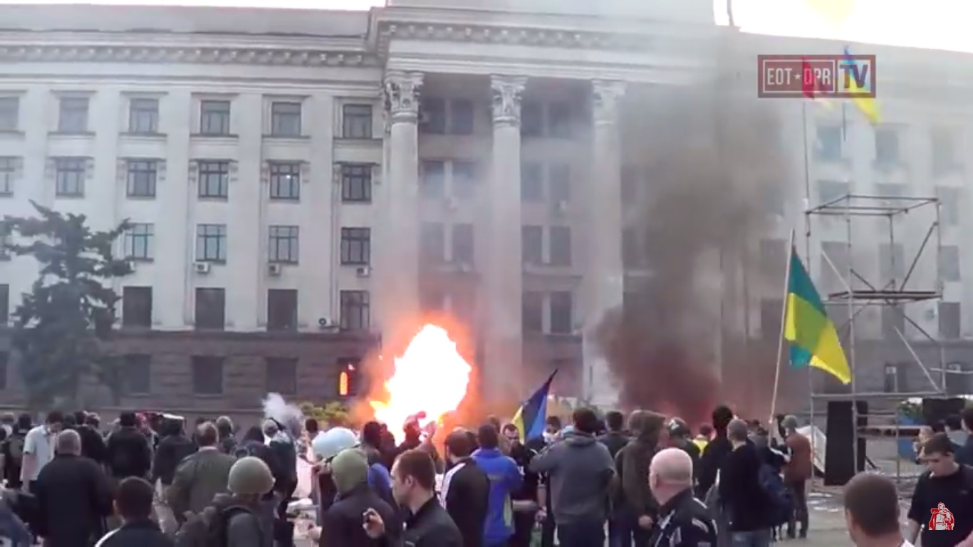 Neo-Nazis near the Trade Unions House. Odessa. May 2, 2014