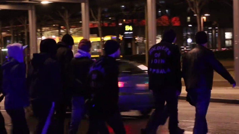 """Soldiers of Odin Uppsala"". Still from ""Anonymous Antifa Sweden"" video"