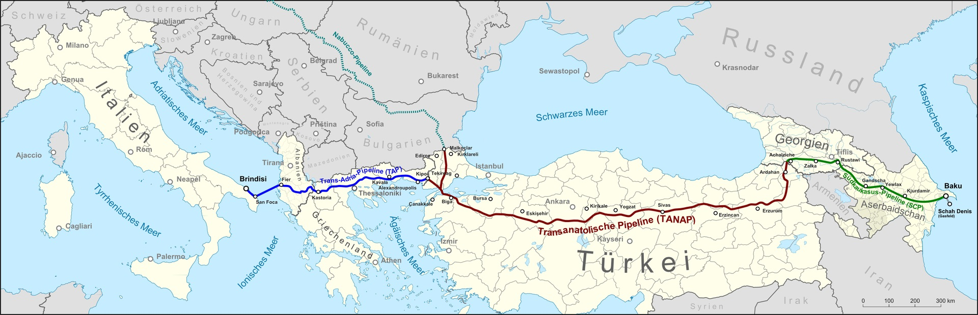 Shah Deniz gas field, the route of the South Caucasus Pipeline (SCP), the Trans-Anatolian gas pipeline (TANAP) and the planned Trans Adriatic Pipeline (TAP), as well as Nabucco pipeline. CC 2.0 (click for better resolution)