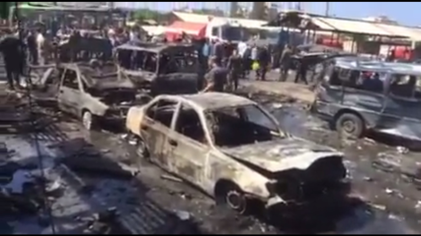 Aftermath of terrorist attack in Jableh. Still from Ivan Sidorenko YouTube channel video