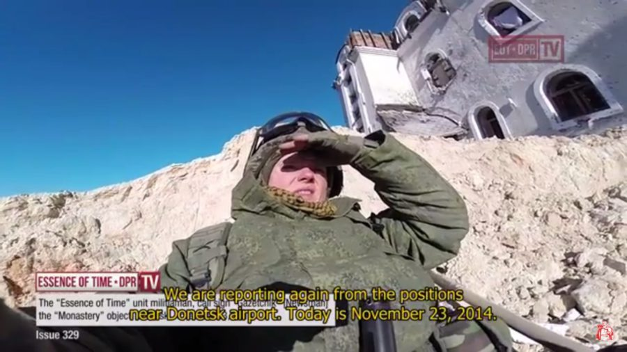 "Gazetchik near the Monastery position, Donetsk airport. The report was filmed on November 23, 2014. On January 17, 2015, three ""Essence of Time"" unit members gave their lives to stop the joint attack of ""Right Sector"" Nazis and Ukrainian army against this position. Capturing it would allow Ukrainian fascists to enter Donetsk"