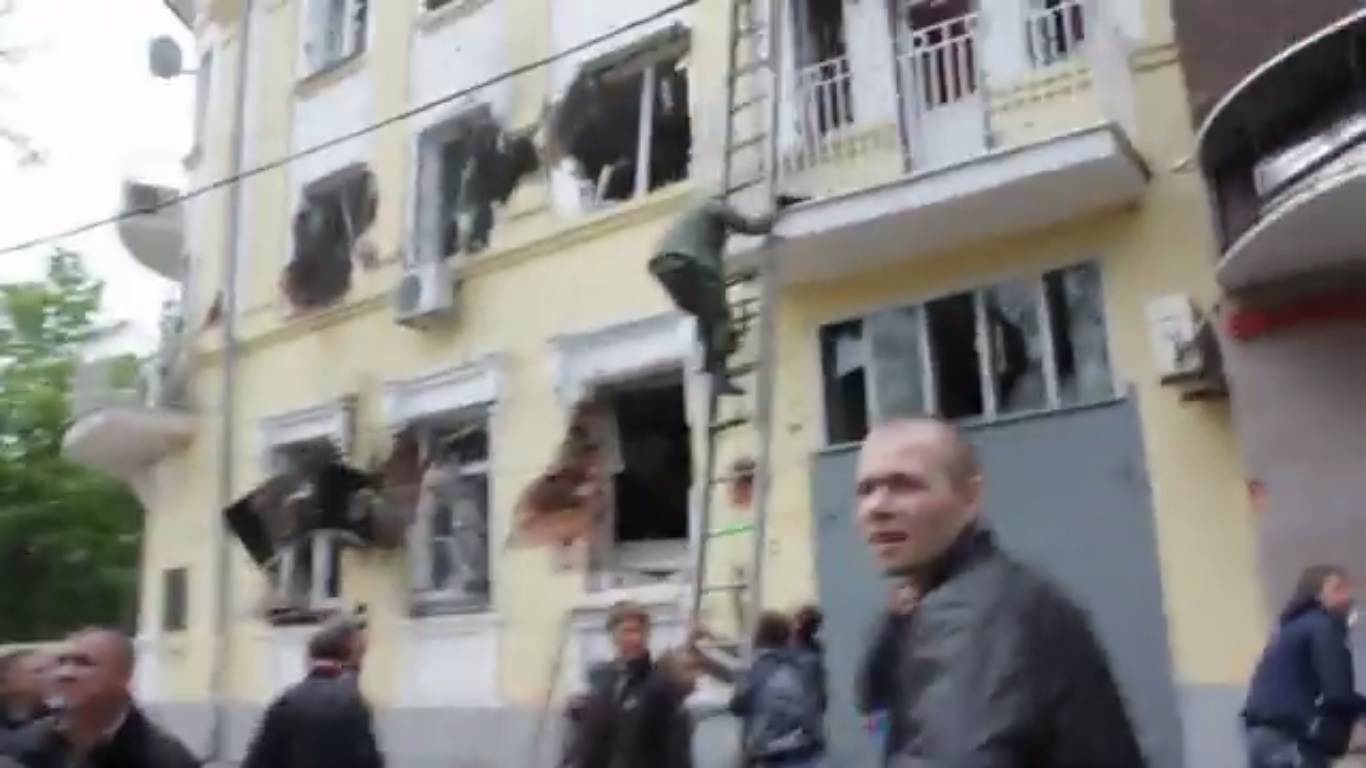 Police building of Mariupol damaged during Ukrainian National Guard's attack against the policemen who refused to use force against protesters. May 9, 2014.