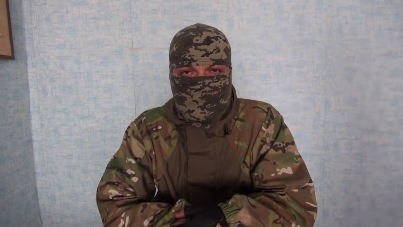 One of militiamen from Slavyansk tricked by Strelkov. They were masked during the video interviews, because Slavyansk was already surrendered to Nazis and they had families there. Some of them left Donetsk and left to Slavyansk right after the interview to save their families, but never returned. Still from EoT TV-DPR Issue 4. July 6, 2014.