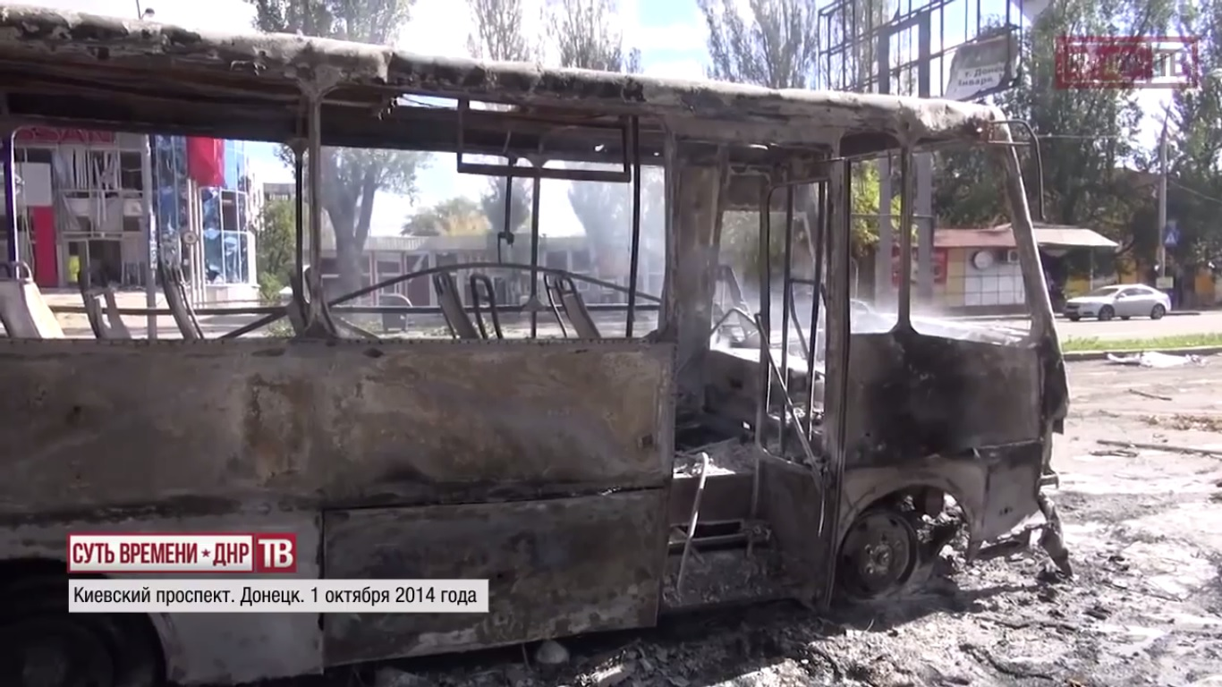 Kievsky avenue. Donetsk. October 1, 2014.  Still from EoT-DPR TV Issue 213