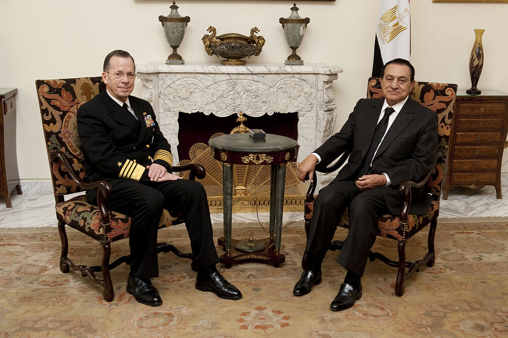 "Original caption by by the United States Armed Forces: ""Chairman of the Joint Chiefs of Staff Adm. Mike Mullen, U.S. Navy, meets with Egyptian President Hosni Mubarak in Cairo on Feb. 14, 2010. Mullen is on a weeklong tour of the region visiting with key partners and allies."" Less than a year later the U.S. supported the coup against Mubarak."