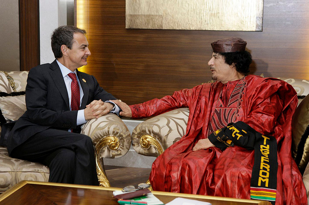 The President of the Government of Spain, José Luis Rodríguez Zapatero, and the President of Libya, Muammar al-Gaddafi, in Tripoli (Libya). 2010