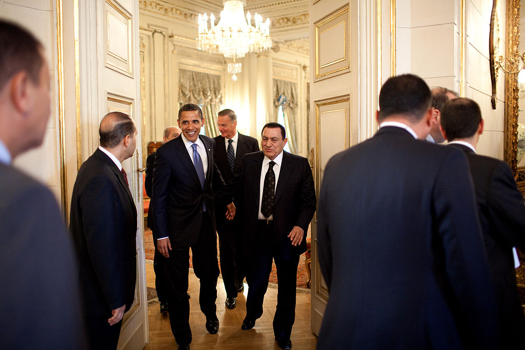 President Barack Obama leaves a meeting with Egyptian President Hosni Mubarak in Cairo, Egypt, June 4, 2009.