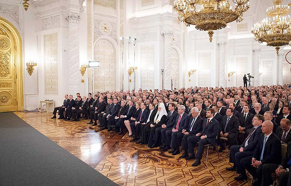 The audience to which President of Russia Vladimir Putin reads the Federal Assembly Address